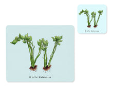 Load image into Gallery viewer, fruit and vegetable alphabet placemat and matching coaster letter w