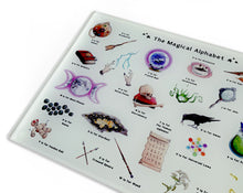 Load image into Gallery viewer, the magical alphabet chopping board wicca gift idea for her