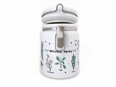 witches herbs ceramic storage jar