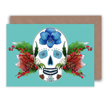 Load image into Gallery viewer, winter birthday sugar skull note card
