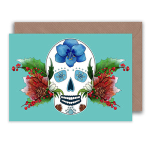 winter birthday sugar skull note card