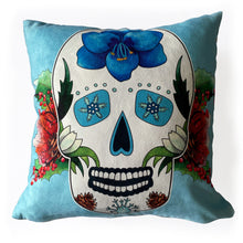 Load image into Gallery viewer, day of the dead sugar skull cushion
