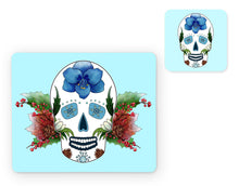 Load image into Gallery viewer, ice blue skull placemat and matching coaster