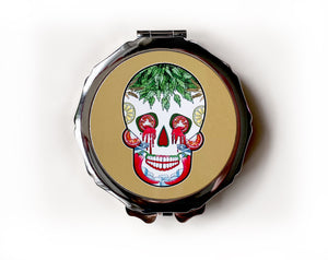 mustard sugar skull make up mirror, stocking filler for her