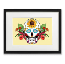 Load image into Gallery viewer, yellow skull and flowers print
