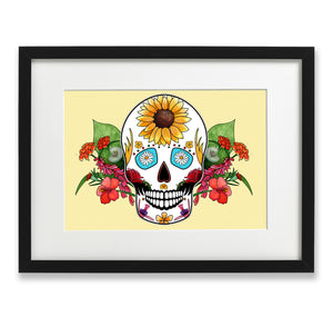 yellow skull and flowers print