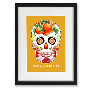 yellow sugar skull art work featuring oranges and lemons
