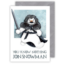 Load image into Gallery viewer, funny game of thrones Christmas card you know nothing jon snowman