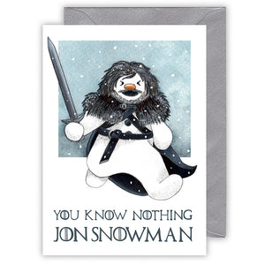 funny game of thrones Christmas card you know nothing jon snowman