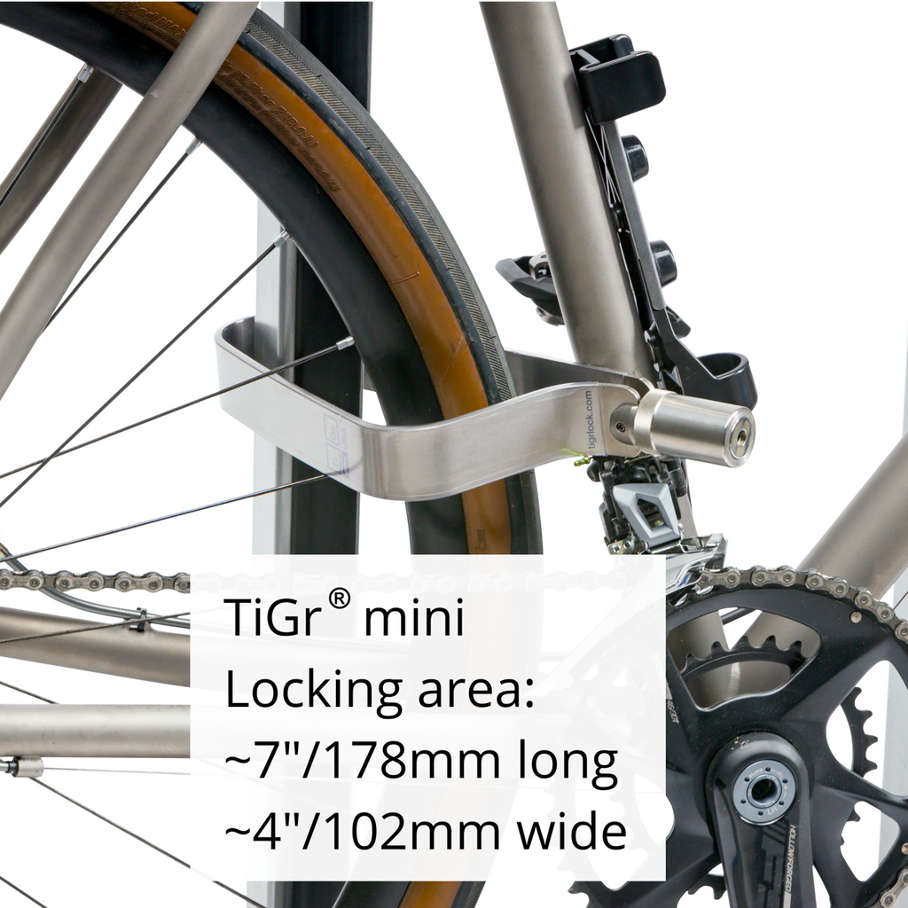 TiGr Mini Lightweight Titanium Bicycle Lock /& Mounting Clip Strong and Light Easy to Carry Bike Security