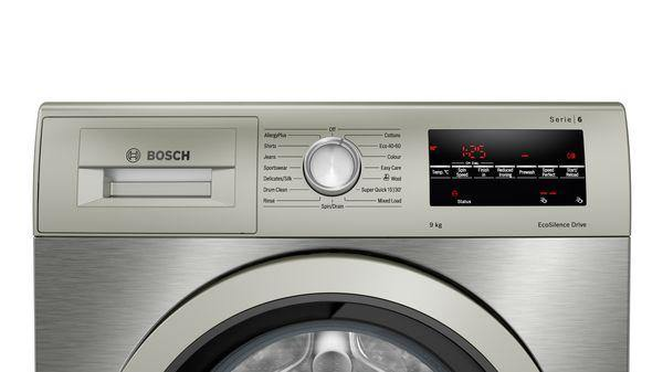 Bosch WAU28TS1GB 9kg washing machine in silver inox. LED display with 14 wash programmes..