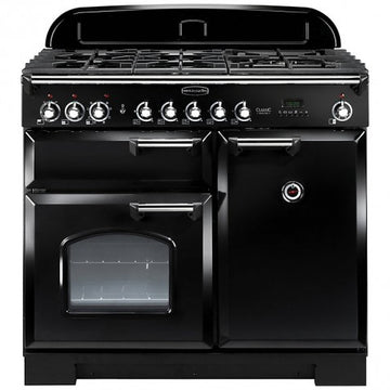 Rangemaster CDL100DFFBL/C Classic Deluxe 100 Dual Fuel Range Cooker In Black & Chrome