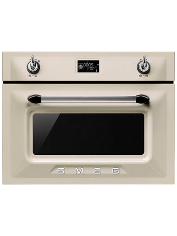 Smeg SF4920VCP Victoria Compact Combination Steam Oven, Cream
