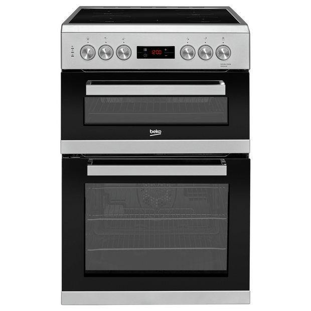 Beko KDC653S 60cm Double oven with ceramic hob in silver