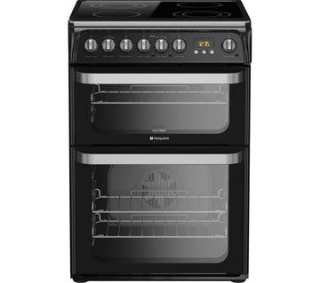 Hotpoint Ultima HUE61KS Electric Cooker with Ceramic Hob - Black - A/A Rated
