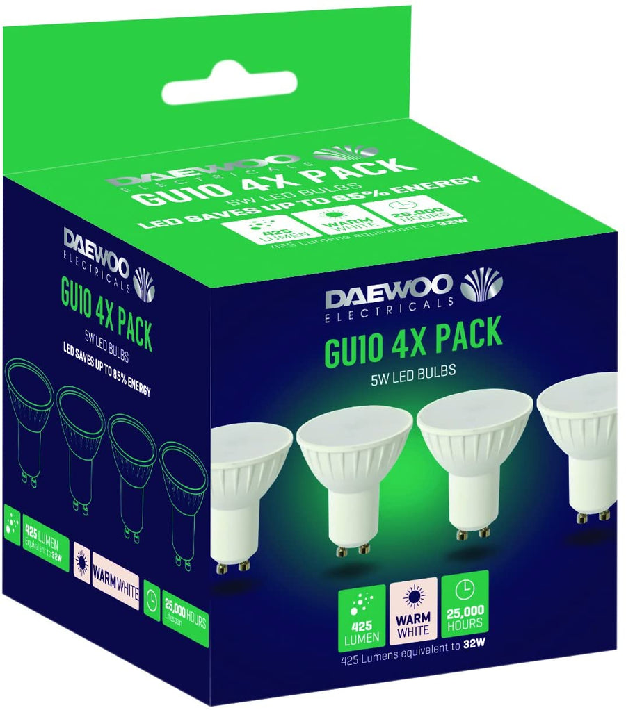 Daewoo GU10 4x Pack 5W LED Spotlight Bulbs