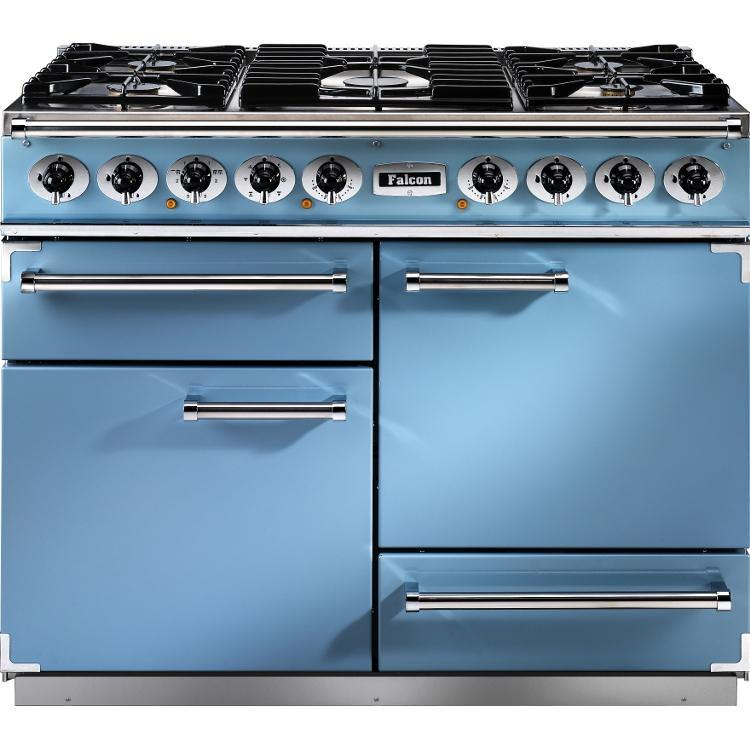Falcon 1092 F1092DXDFCA/NM Deluxe Dual Fuel China Blue/Chrome Range Cooker