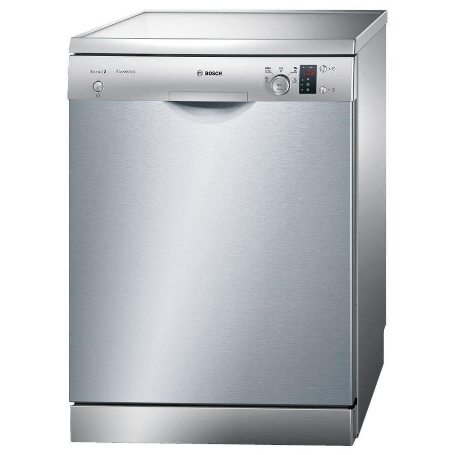 Bosch SMS25AI00E freestanding dishwasher in silver.