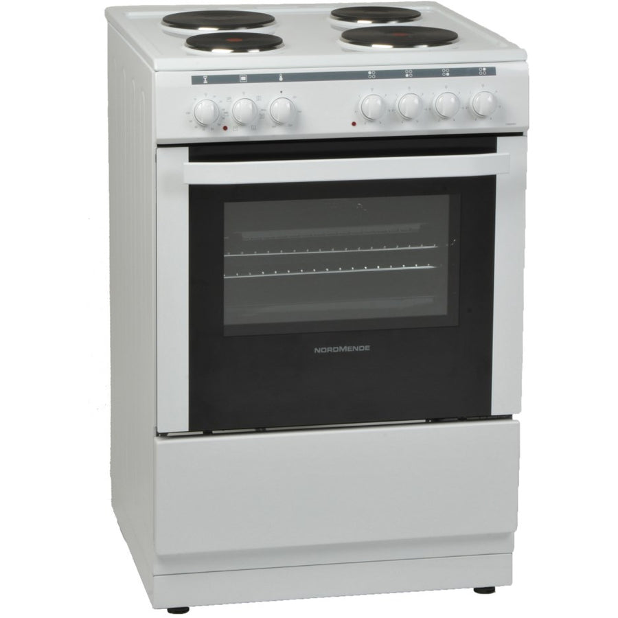 Nordmende CSE63WH 60cm Single Oven Electric Cooker With Solid plate Hob In White - Free 3yr Parts & Labour Warranty On Registration