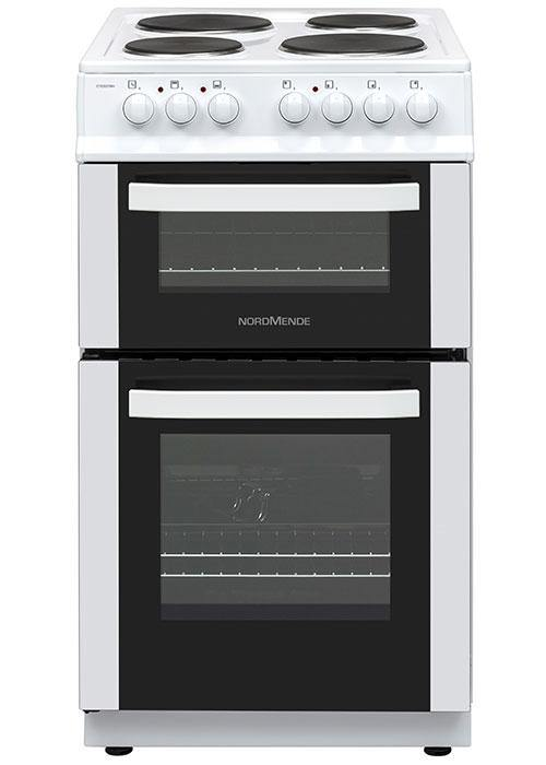 NordMende CTES51WH 50cm Double Cavity Electric Cooker With Sealed Plate Hob In White - Free 3 Year Parts&Labour Warranty on Registration