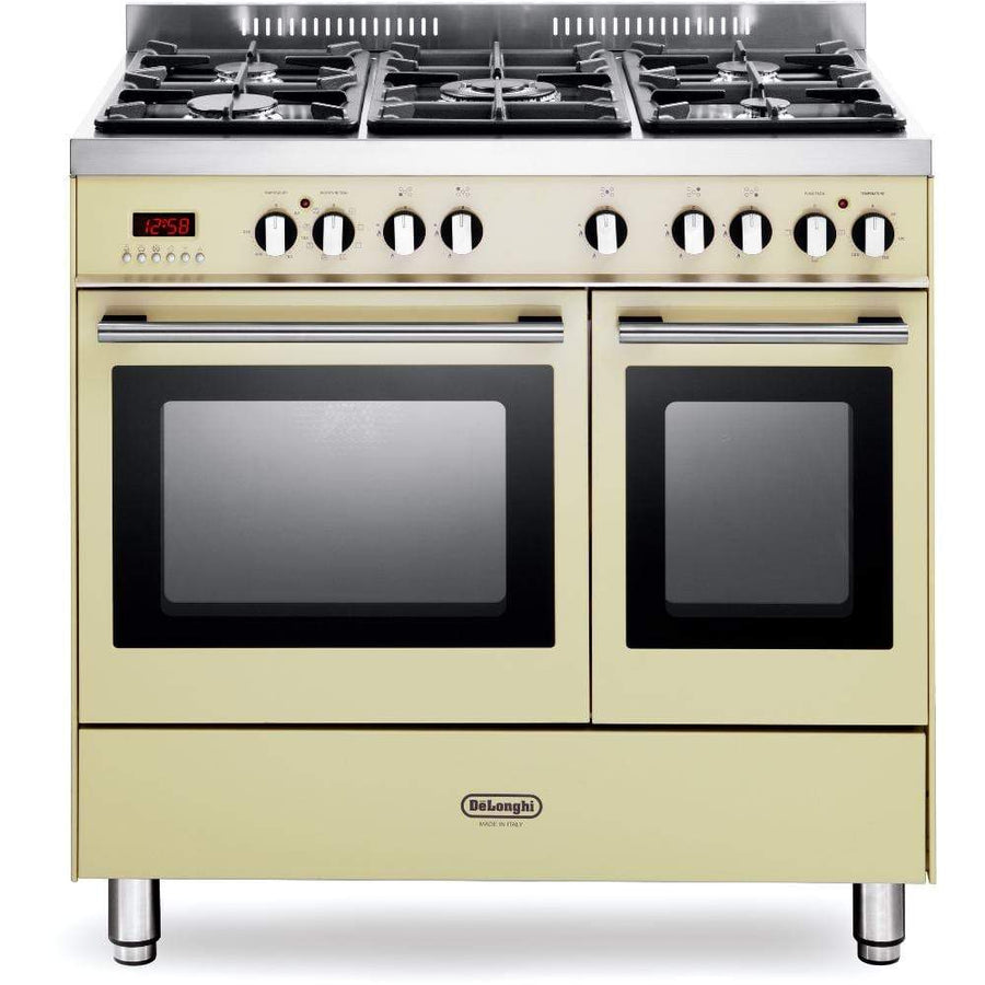 De______Longhi DTR906DFCR 90cm Professional Twin Cavity Dual Fuel Range Cooker in Cream