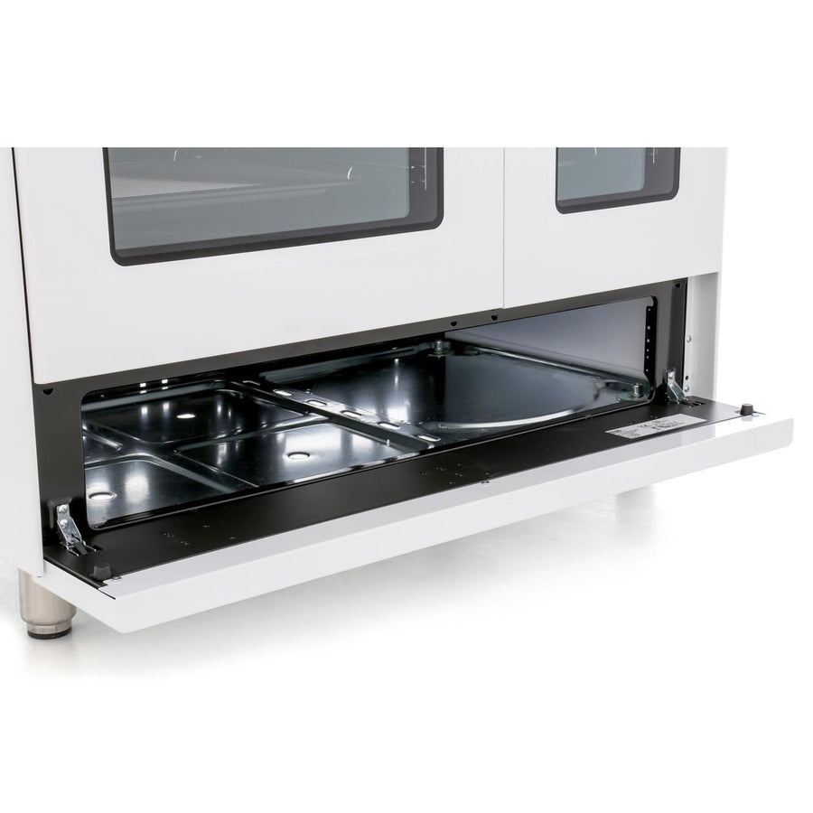 De'Longhi DVTR906DFWH 90cm Vintage Twin Cavity Dual Fuel Range Cooker in White