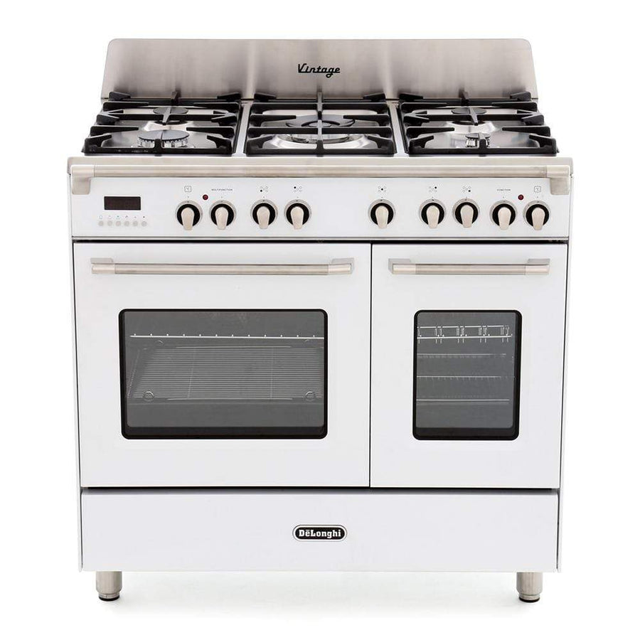 De______Longhi DVTR906DFWH 90cm Vintage Twin Cavity Dual Fuel Range Cooker in White