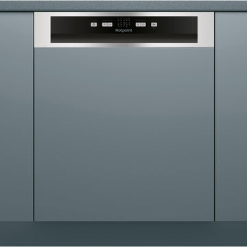 Hotpoint HBC2B19X Semi integrated dishwasher with Steel fascia panel.