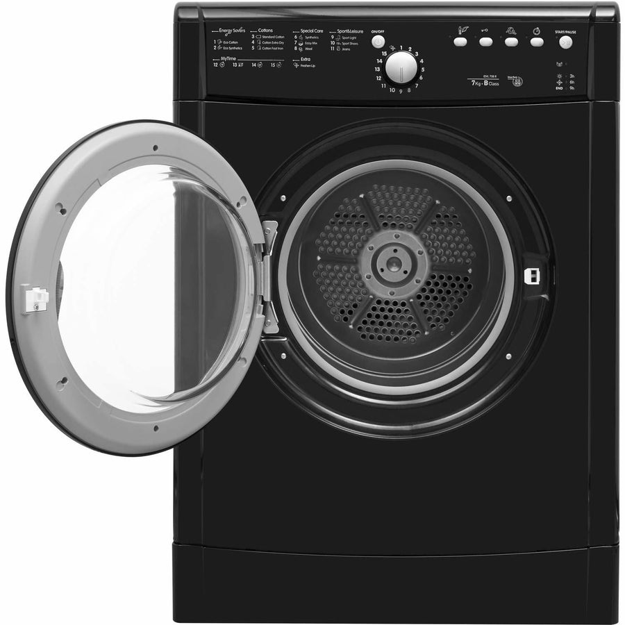 Indesit Eco Time IDVL75BRK 7Kg Vented Tumble Dryer In Black