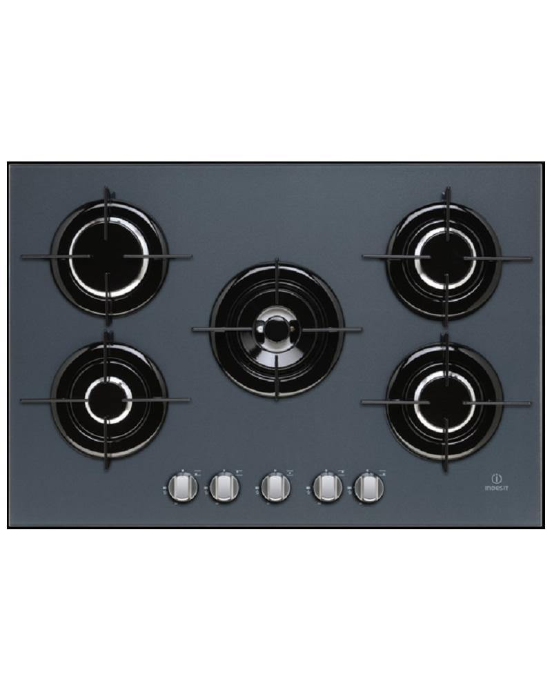Indesit IPG751SGR 75cm Gas On Glass Hob, Grey