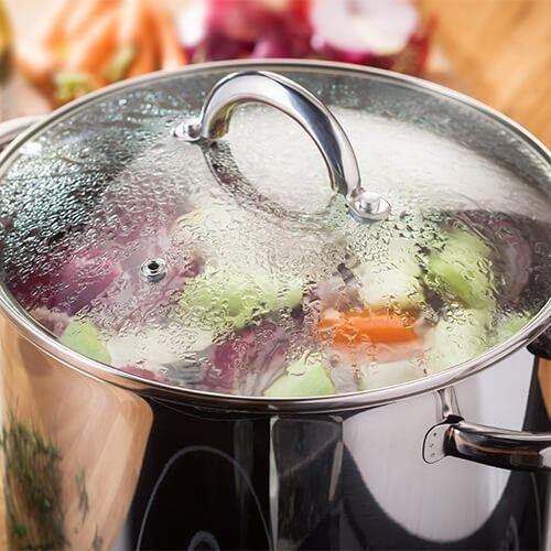 JP81 Judge 22cm Stainless Steel Stockpot With Vented Glass Lid, 6.5 Litre