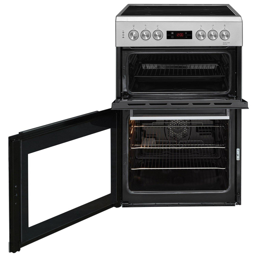 Beko KDC653S 60cm double oven electric cooker with ceramic hob in silver.