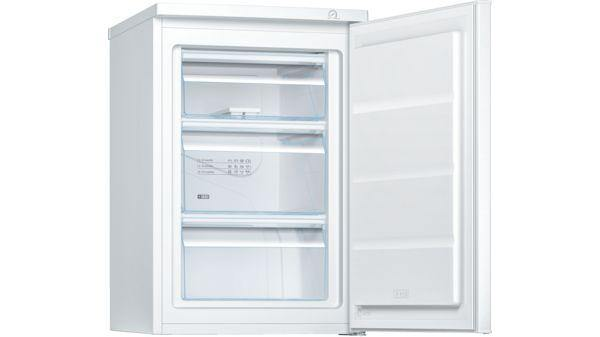 Bosch GTV15NWEAG freestanding undercounter freezer in white. 3 freezer drawers and low frost technology.