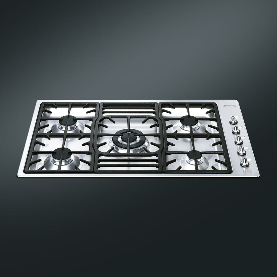 Smeg PGF95-4 Classic Stainless Steel Ultra Low Profile 5 Burner 87cm Gas Hob
