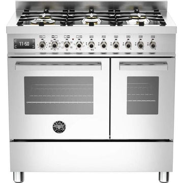 Bertazzoni PRO90-6-MFE-D-XT Professional Series 90cm Dual Fuel Range Cooker With A Double Oven-Stainless Steel - Please call for price!