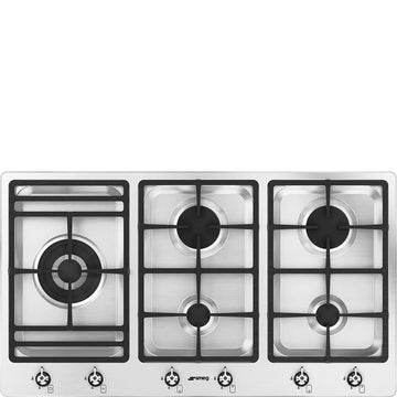Smeg PS906-5 90cm Gas Hob, Stainless Steel
