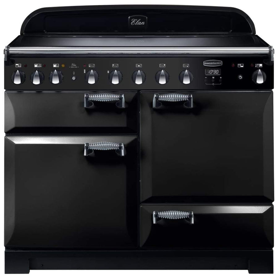 Rangemaster ELA110EIBL Elan Deluxe Black with Chrome Trim 110cm Electric Induction Range Cooker
