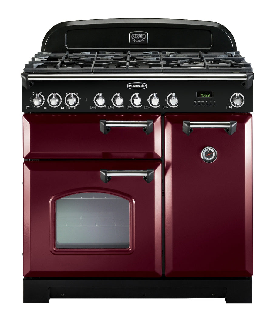 Rangemaster Classic Deluxe CDL90DFFCY/C 90cm Cranberry & Chrome Dual Fuel Range Cooker