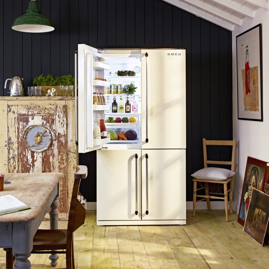Smeg FQ960P Victoria 4 Door Frost-Free Fridge Freezer - in Cream - limited stock - Up to £200 cashback offer from Smeg if purchased by 28/05/2020 (T's & C's apply)