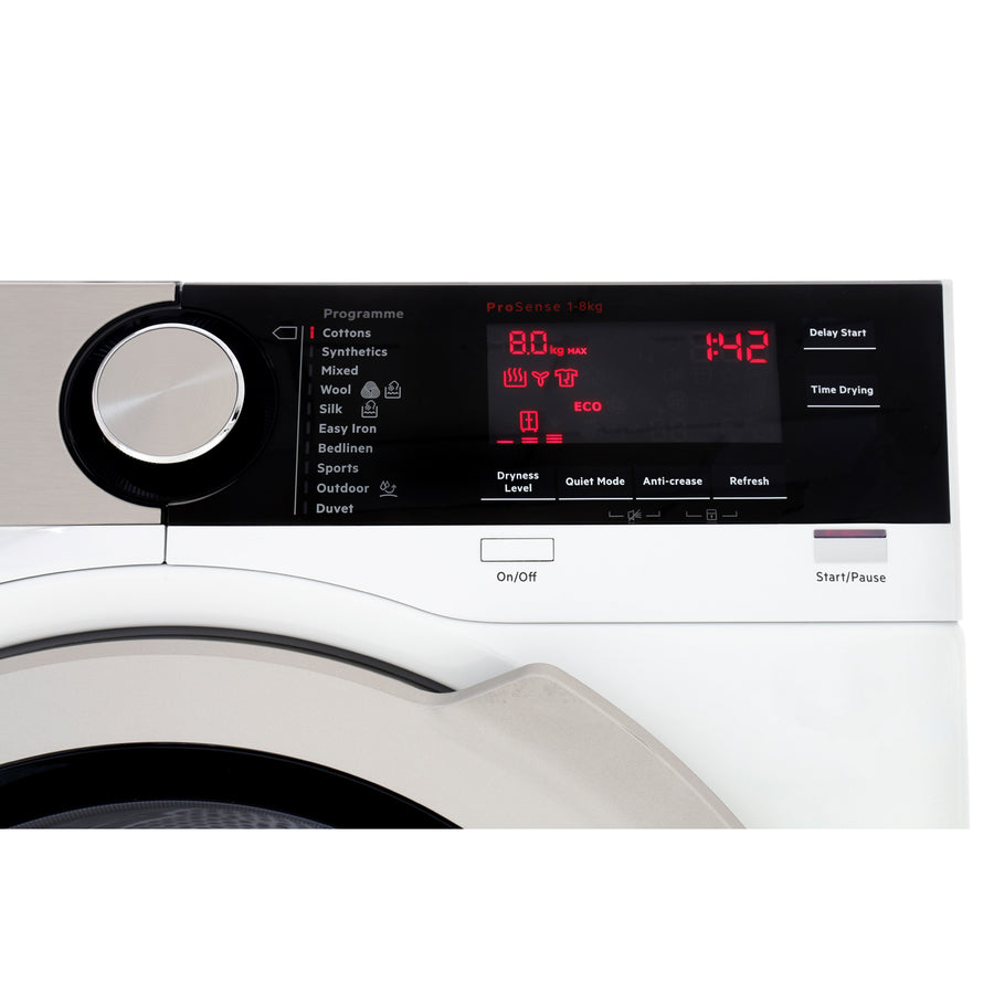 AEG T8DEC846R 8000 Series Heat Pump Tumble Dryer, 8kg Load, A++ Energy Rating, White (Free 5 Year Parts & Labour Warranty on Registration)