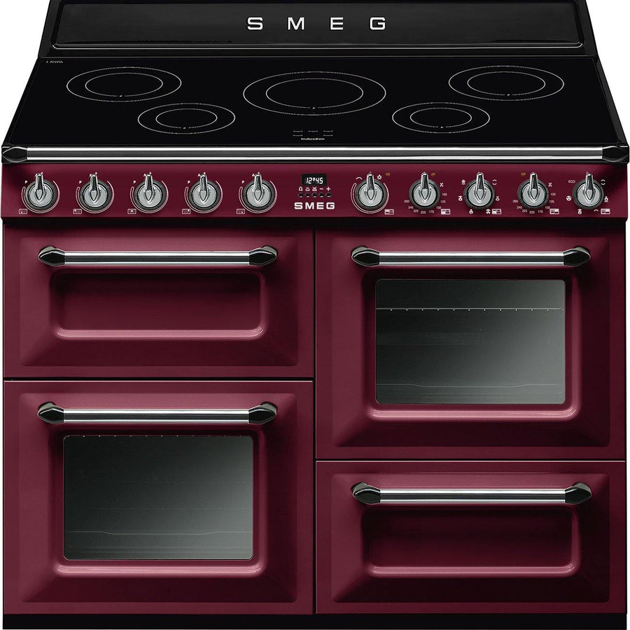 Smeg TR4110IRW 110cm Victoria Range Cooker with Induction Hob, Red Wine