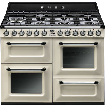 TR4110P1 110cm ''Victoria'' Traditional Duel fuel 4 cavity cooker with gas hob, cream/black enamel finish