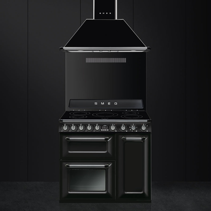 Smeg TR93IBL Victoria Triple Cavity - 90cm Electric Range Cooker With Induction Hob - Black
