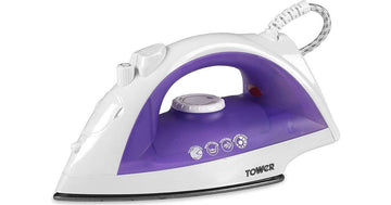 Tower T22003 Steam Iron with Non Stick Soleplate In White/Purple
