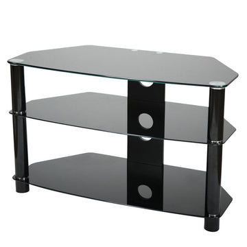 VIVANCO 3-shelf black glass corner stand for TVs B8000B