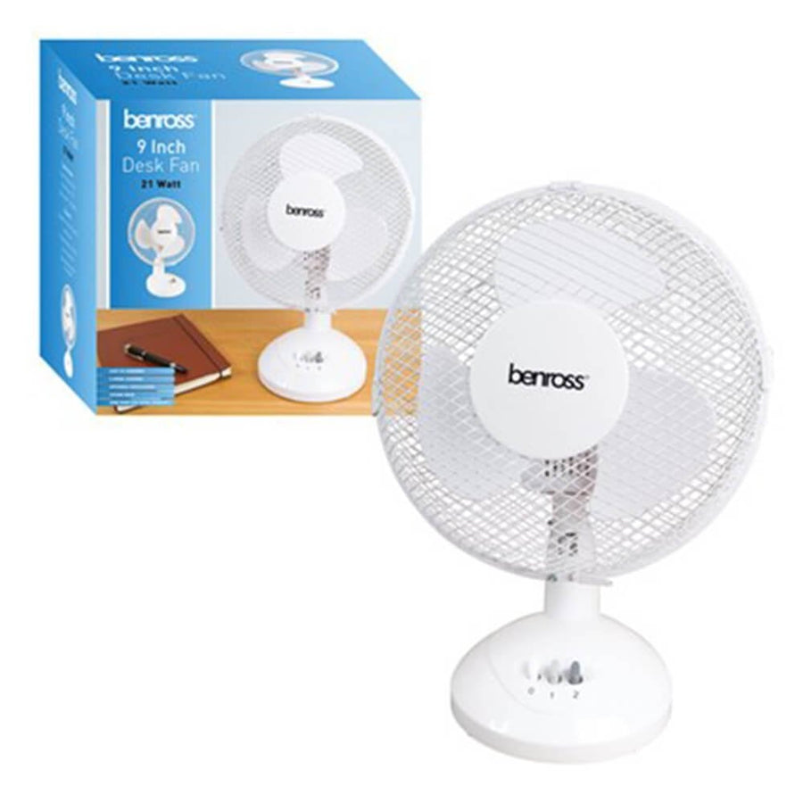 BENROSS 9 INCH WHITE 2-SPEED DESK FAN
