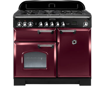 Rangemaster CDL100DFFCY/C Classic Deluxe 100 Dual Fuel Range Cooker – Cranberry & Chrome