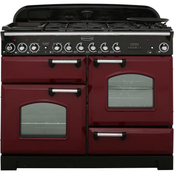 Rangemaster CDL110DFFCY/C Classic Deluxe  110cm Cranberry  & Chrome Dual Fuel Range Cooker