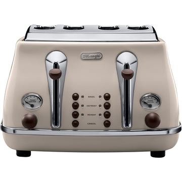 De'Longhi CTOV4003BG Vintage Icona 4-Slice Toaster In Cream