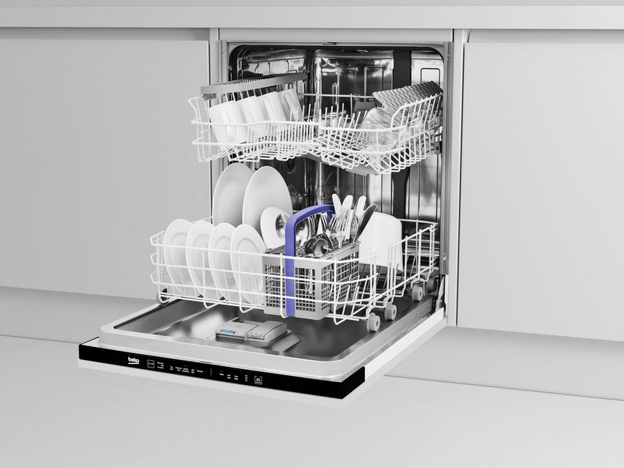 Beko DIN15R11 Fully Integrated Standard Dishwasher - Black Control Panel - A+ Rated